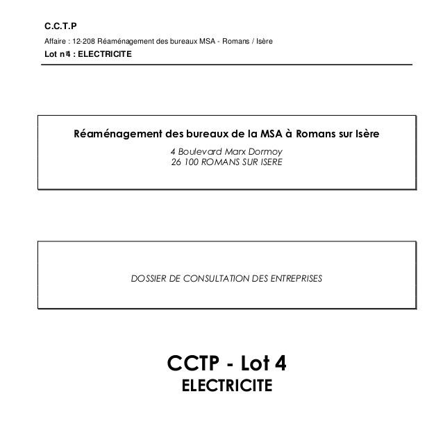 Cahier des Clauses Techniques Particulières CCTP